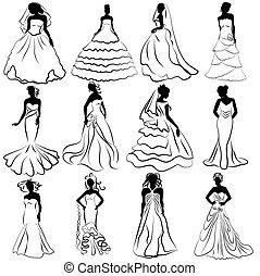 mariées, charge, kit, silhouette, mariage