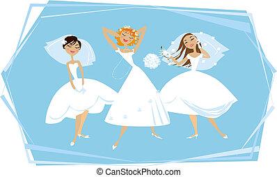 mariées, heureux