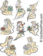 mariées, jaune, robes, mariage