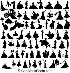 mariées, silhouettes, ensemble