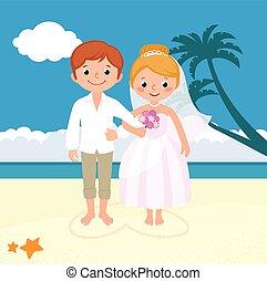 mariés, juste, couple, mariage plage