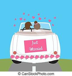 mariés, juste, voiture, couple, lune miel, mariage, mariage