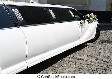 mariés, limousine, juste