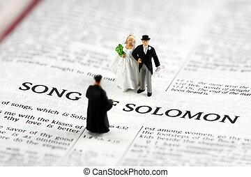 mariés, obtenir, palefrenier, mariée, bible, concept: