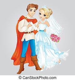 mariés, prince, princesse