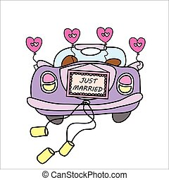 Juste voiture mari s vecteur mariage dessin anim clipart vectoriel rechercher - Dessin voiture mariage ...