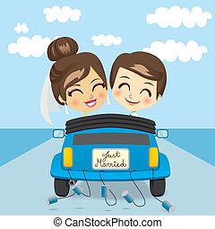 mariés, voyage, juste