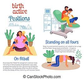 mari, accouchement, s, fitball., aides, plancher, femmes, ...