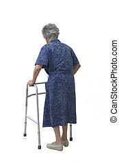 Maria 1733. - Elderly woman walking slowly on the white ...