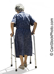 Elderly woman walking slowly on the white background.
