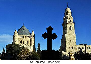 maria, abbazia, monte, hagia, sion, chiesa, gerusalemme, israel., zion.