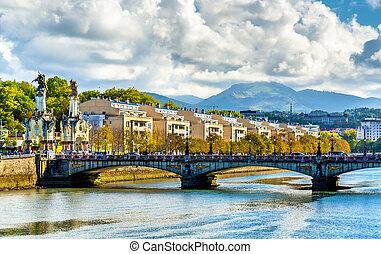 Maria Cristina Bridge over the Urumea river in San Sebastian - Spain