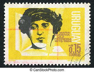 Maria Eugenia Vaz Ferreira - URUGUAY - CIRCA 1975: stamp...
