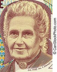 Maria Montessori (1870-1952) on 1000 Lire 1990 Banknote from...