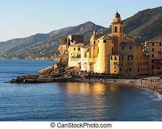 maria, riviera, di, assunata, basilique, santa, camogli., italien