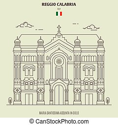 Maria Santissima Assunta in Cielo of Reggio Calabria, Italy. Landmark icon in linear style