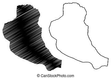 Maria Trinidad Sanchez Province (Dominican Republic, Hispaniola, Provinces of the Dominican Republic) map vector illustration, scribble sketch Julia Molina map