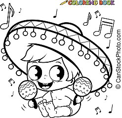 Mariachi baby boy playing music with maracas