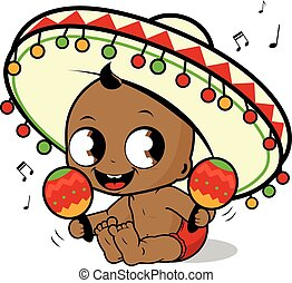 Mariachi baby with a sombrero playing music with the maracas. Vector Illustration