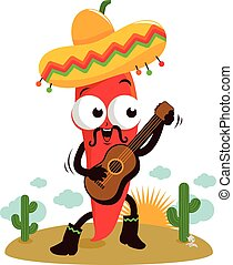 Mariachi chili pepper with guitar