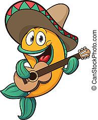 Mariachi fish singing with guitar. Vector clip art...