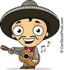 Mariachi - Happy mariachi playing guitar vector cartoon...