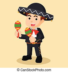 mariachi hold maracas  illustration design