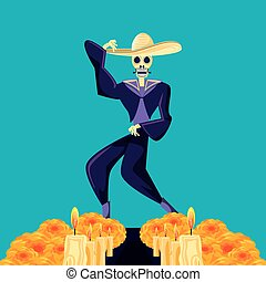 mariachi skull day of the dead party