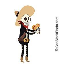 mariachi, squelette, icône
