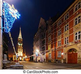 Mariacki church in christmas night. Katowice, Poland. Europe.