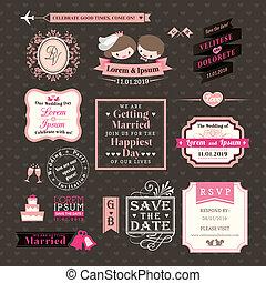 mariage, éléments, étiquettes, et, cadres, vendange, style
