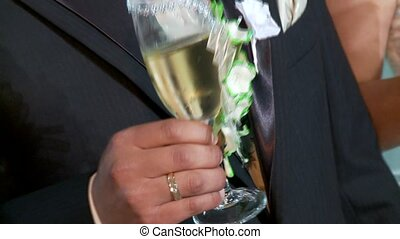 mariage, étincelant, winde, couple