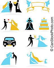 mariage, 2, -, icônes