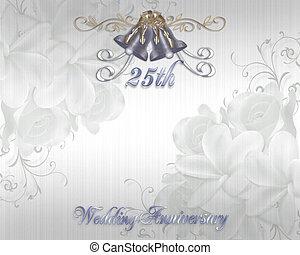 mariage, 25e, anniversaire, invitation