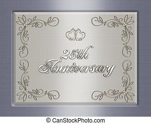 mariage, 25e, invitation, anniversaire