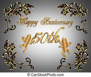 mariage, 50th, anniversaire