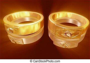 mariage, anneau, or, mariage