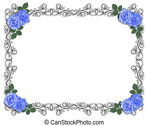 mariage, bleu, roses, frontière