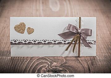 mariage, bois, planche, carte, invitation