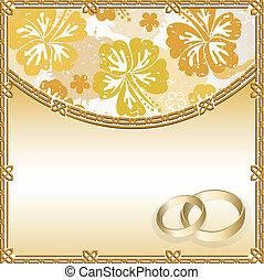 mariage, carte, à, a, modèle floral