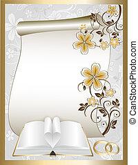 mariage, carte, à, modèle floral
