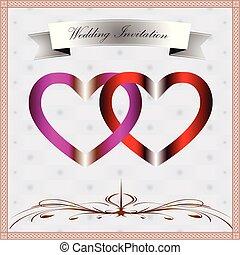 mariage, carte, invitation, anneau, coeur