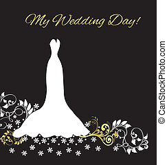 mariage, carte, invitation, robe