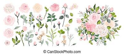 mariage, carte, leaves., salutation, fleur, conception, ensemble, rose, floral, flowers., affiche, arrangements, rose, vecteur, invitation, ou, branch., invite., concept, vert