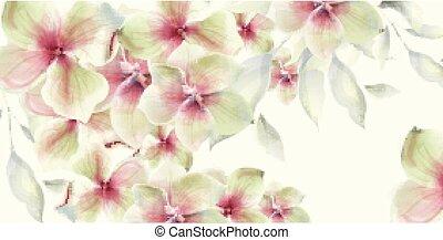 mariage, carte, watercolor., vecteur, decors, fond, floral, ...