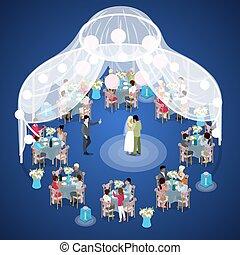 mariage, ceremony., juste marié, couple, premier, dance., isométrique, vecteur, plat, 3d, illustration