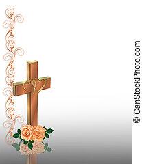 mariage, chrétien, croix, invitation