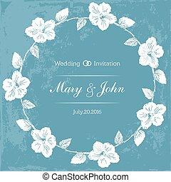 mariage, conception, gabarit, à, coutume, noms, dans, rond, cadre, hibiscus, flowers., vecteur, illustration.