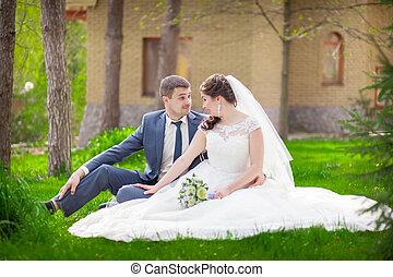 mariage, dans parc