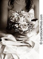 mariage, dans, sépia
